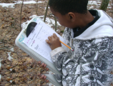 A boy with a clip board and data sheet writing information about trees in the forest
